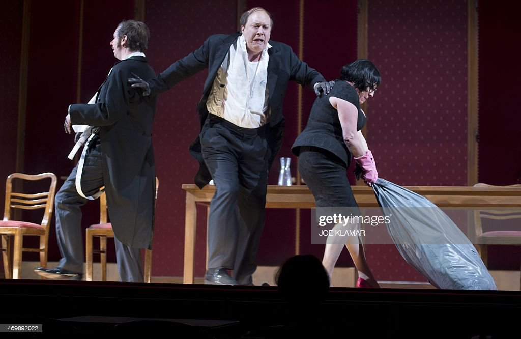 Austrian actor Nicholas Ofzarek German actors Michael Maertens and Maria Happel perform during a dress rehearsal of the play 'Die Affaere Rue de...