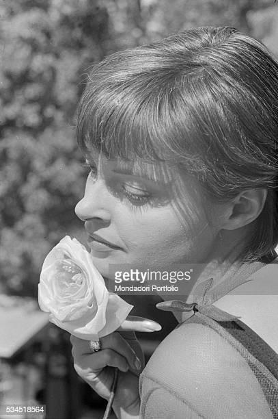 Austrian actress Nadja Tiller holding a flower at the 19th Venice International Film Festival Venice August 1958