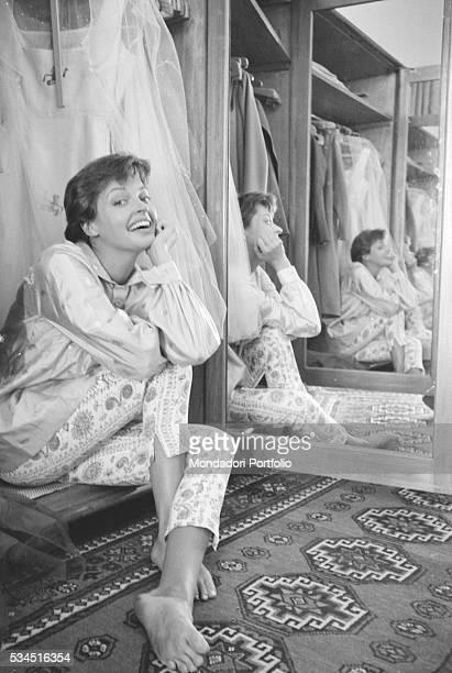 Austrian actress Nadja Tiller smiling beside a mirror during the 19th Venice International Film Festival Venice August 1958