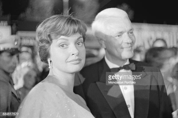 Austrian actress Nadja Tiller with Germanborn American Peter van Eyck at the 19th Venice International Film Festival Venice August 1958