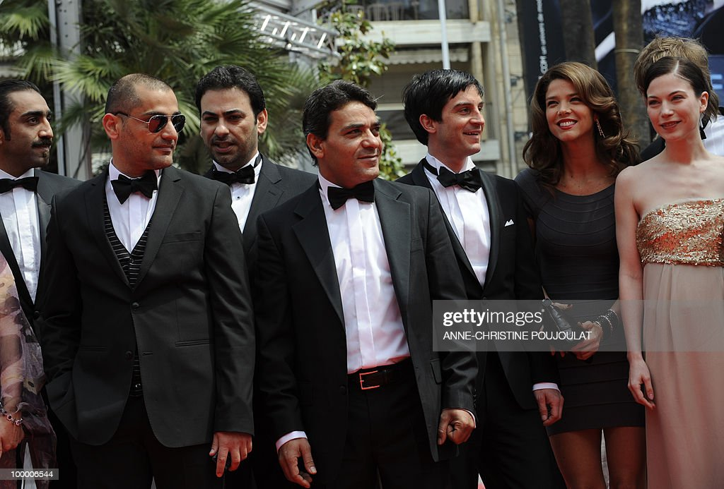 Austrian actress Nora Von Waldstatten (R), actors Christoph Bach (3rdR), Rami Farah (L), Rodney El-Haddad (2ndL) and Colombian actress Juana Acosta (2ndR) arrive with for the screening of 'Carlos' presented out of competition at the 63rd Cannes Film Festival on May 19, 2010 in Cannes.