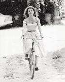 Austrian actress Senta Berger posing on the set of the film 'The Mistress is Served' Parma 1976
