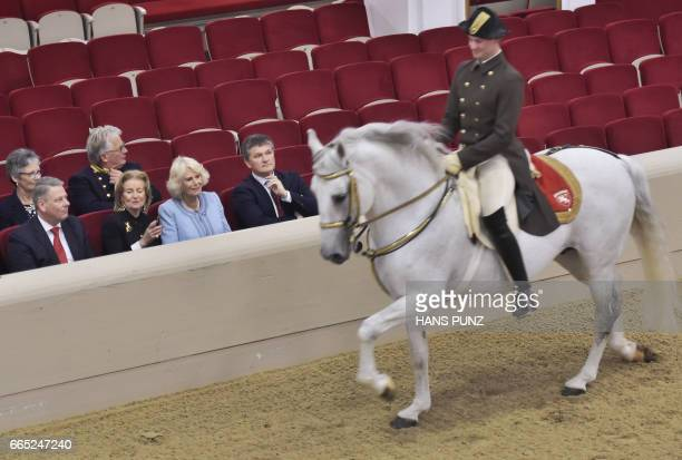 Austrian Agricultural Minister Andrae Rupprechter General Manager of the Spanish Riding School Elisabeth Guertler Britain's Camilla Duchess of...
