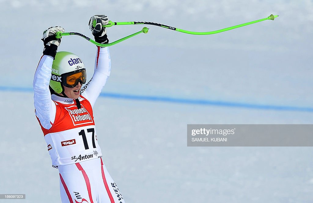 Austrian Anna Fenninger reacts in finish area at the women's World Cup Super G, on January 13, 2013 in St Anton am Arlberg, Austria. Slovenia's Tina Maze won ahead of Austria's Anna Fenninger and Switzerland's Fabienne Suter.