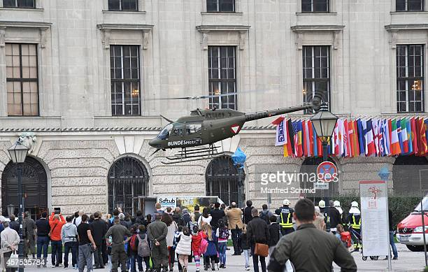 Austrian army helicopters land ahead of Austria's national day at Heldenplatz on October 20 2014 in Vienna Austria Austria's National Day is...