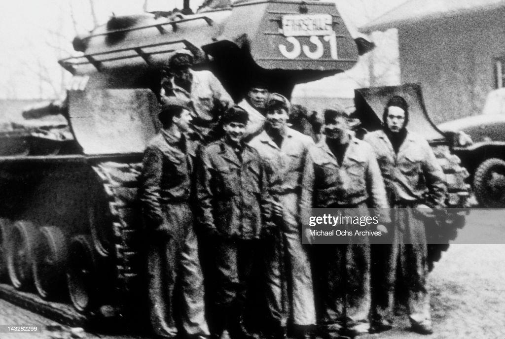 Austrian Army soldier Arnold Schwarzenegger poses with his unit circa 1965 in Austria.