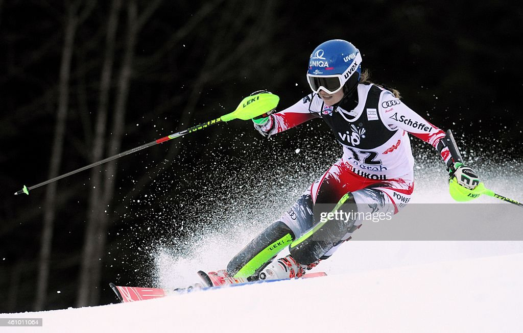 Austrian <a gi-track='captionPersonalityLinkClicked' href=/galleries/search?phrase=Bernadette+Schild&family=editorial&specificpeople=7408037 ng-click='$event.stopPropagation()'>Bernadette Schild</a> clears a gate on January 4, 2015 during the first race of the women's World Cup slalom race in Sljeme, some 10 kms from Zagreb.