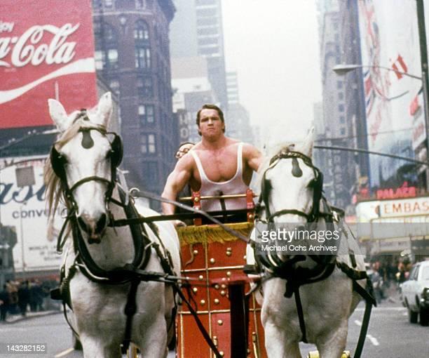 Austrian Bodybuilder Arnold Schwarzenegger in a scene from the Trimark Pictures movie 'Hercules In New York' in 1969 in New York city New York