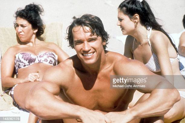 Austrian Bodybuilder Arnold Schwarzenegger poses for a portrait on Venice Beach in August 1977 in Los Angeles California