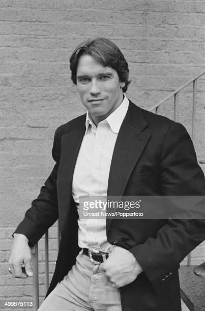 Austrian born actor and bodybuilder Arnold Schwarzenegger posed in London on 10th January 1985