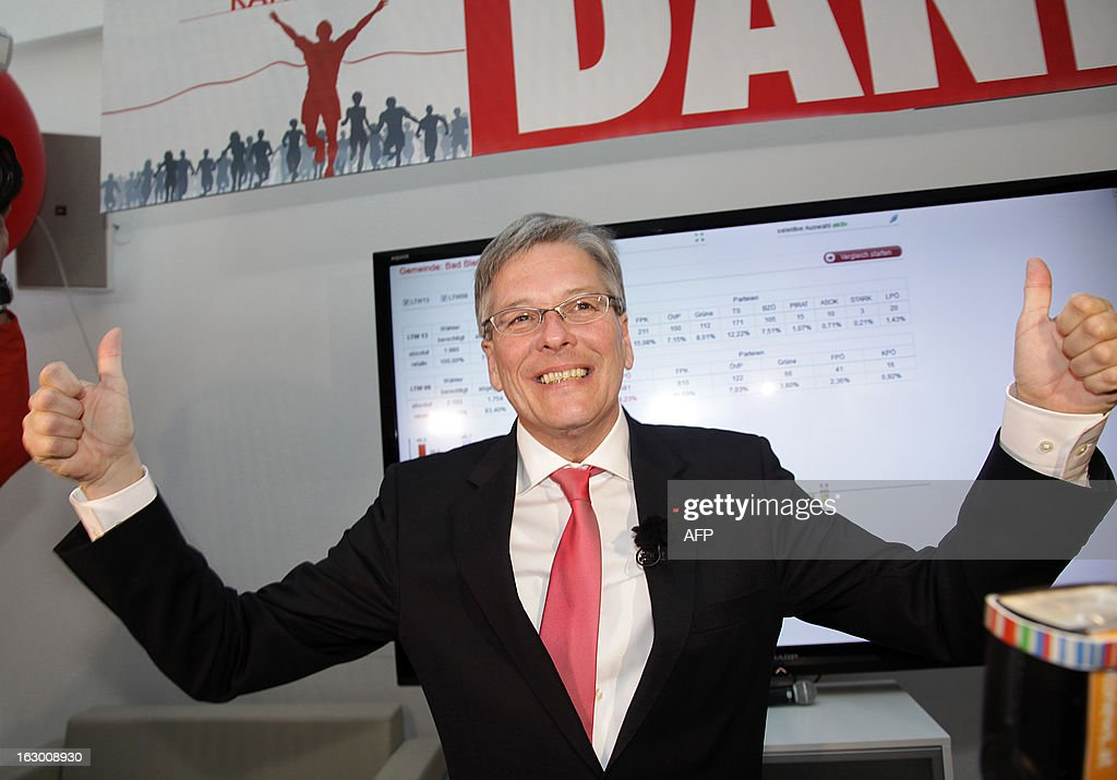 Austrian candidate of the Social Democrats Austria (SPOE) Peter Kaiser reacts during the regional elections in Kaernten, Austria on March 3, 2013. Austria's far-right on Sunday lost power in the state of Carinthia, its late leader Joerg Haider's former stronghold, projections from state election results showed.