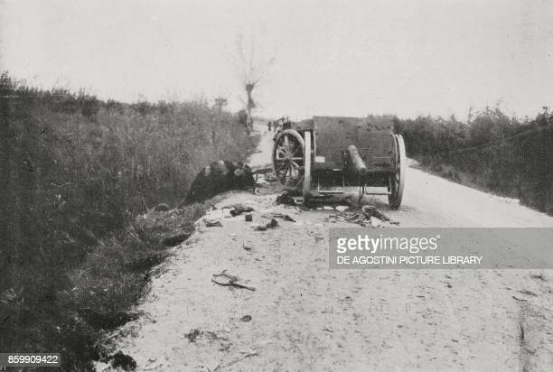 Austrian cannon abandoned on the road to Pordenone Italy World War I from l'Illustrazione Italiana Year XLV No 45 November 10 1918