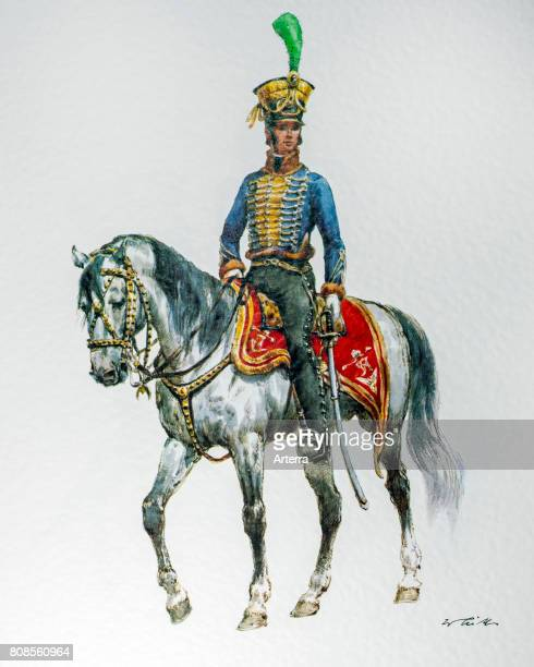 Austrian cavalry officer on horseback in 1837 Hungarian campaign uniform