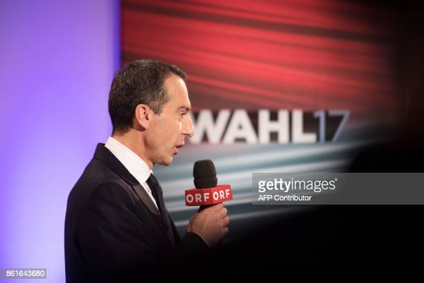 Austrian Chancellor and leader of the Social Democrats Christian Kern speaks during a television debate after the Austrian general elections in...