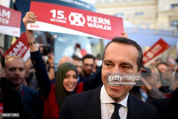 Austrian Chancellor and Social Democrat Christian Kern arrives at one of the last election rallies prior to Austrian parliamentary elections on...