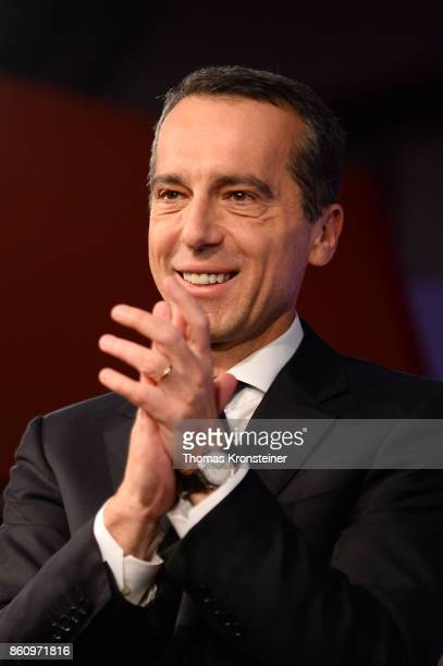 Austrian Chancellor and Social Democrat Christian Kern speaks to supporters at one of the last election rallies prior to Austrian parliamentary...