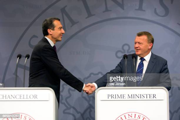 Austrian Chancellor Christian Kern and Danish Prime Minister Lars Loekke Rasmussen shake hands after their joint press meeting at the Ministry of...