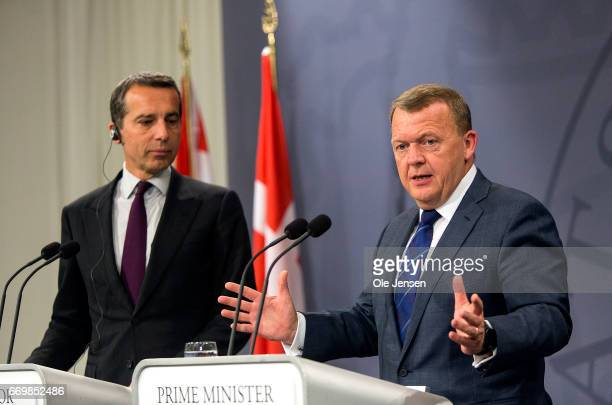 Austrian Chancellor Christian Kern and Danish Prime Minister Lars Loekke Rasmussen hold a joint press meeting at the Ministry of State during Kern's...