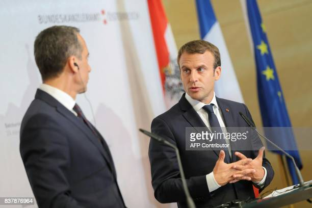 Austrian chancellor Christian Kern and French President Emmanuel Macron hold a press conference after a meeting on August 23 2017 at the Congress...