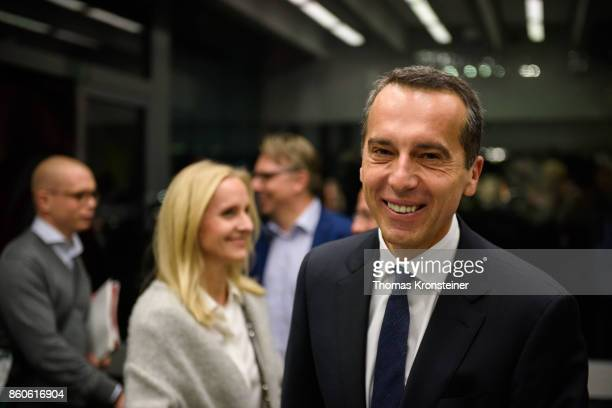 Austrian Chancellor Christian Kern of the Social Democratic Party is seen at ORF studios ahead the 'Elefantenrunde' television debate between the...