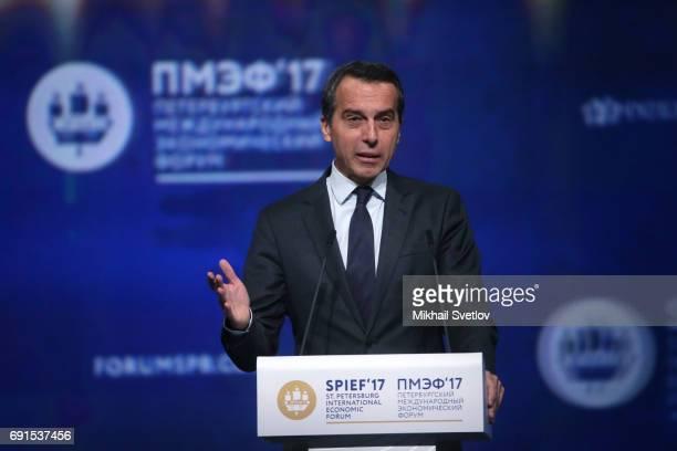 Austrian Chancellor Christian Kern speaks during the Saint Petersburg International Economic Forum SPIEF' 2017 on June 2 2017 in Saint Petersburg...