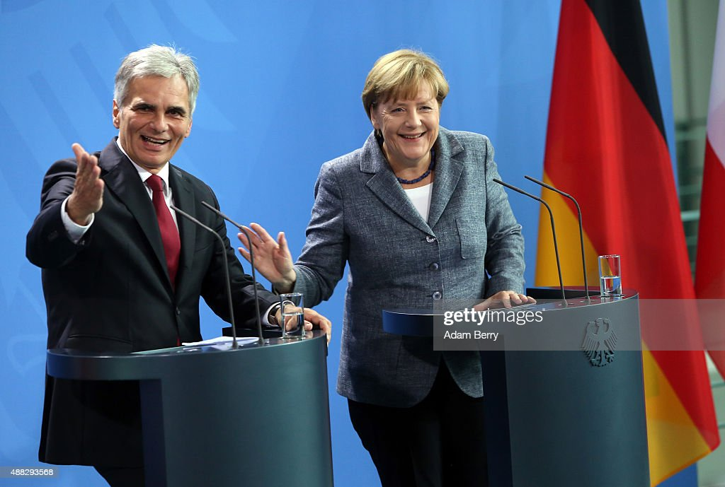 Austrian Chancellor <a gi-track='captionPersonalityLinkClicked' href=/galleries/search?phrase=Werner+Faymann&family=editorial&specificpeople=4101130 ng-click='$event.stopPropagation()'>Werner Faymann</a> (L) and German Chancellor <a gi-track='captionPersonalityLinkClicked' href=/galleries/search?phrase=Angela+Merkel&family=editorial&specificpeople=202161 ng-click='$event.stopPropagation()'>Angela Merkel</a> speak to the media after talks on the ongoing refugee crisis, on September 15, 2015 in Berlin, Germany. After accepting record numbers of refugees over the Austrian border, Germany indefinitely closed the pass over the weekend, prompting other countries to do the same, as Austria deployed its military to prevent a further influx of asylum seekers. A record number of refugees, 7,437, had been recorded entering Hungary via Serbia on Monday, setting a new record up from the previous day.