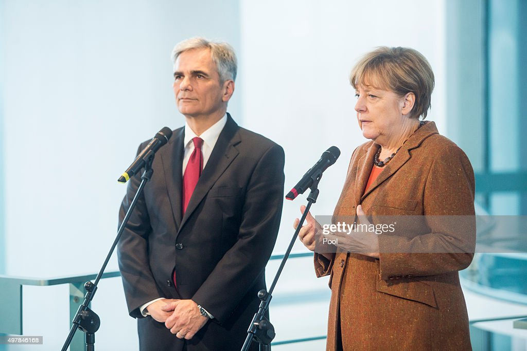 Austrian Chancellor Werner Faymann and German Chancellor Angela Merkel prepare to give a joint press conference at the German Chancellery on November...