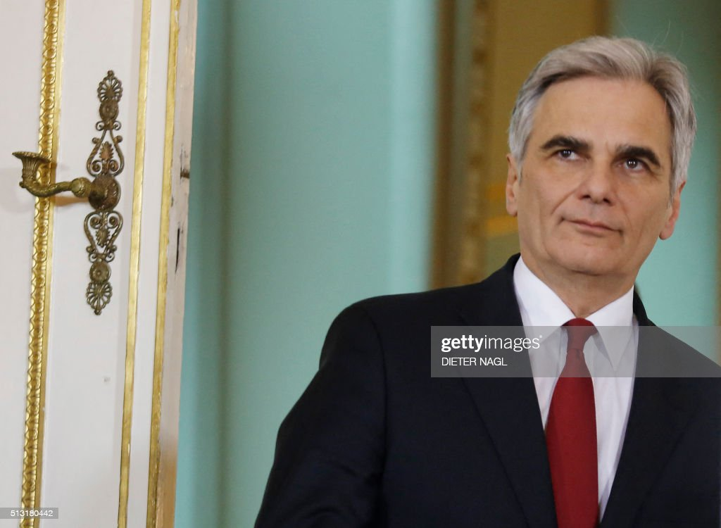 Austrian Chancellor Werner Faymann arrives for a press conference after his meeting with EU Council President Donald Dusk on March 1 2016 in Vienna...