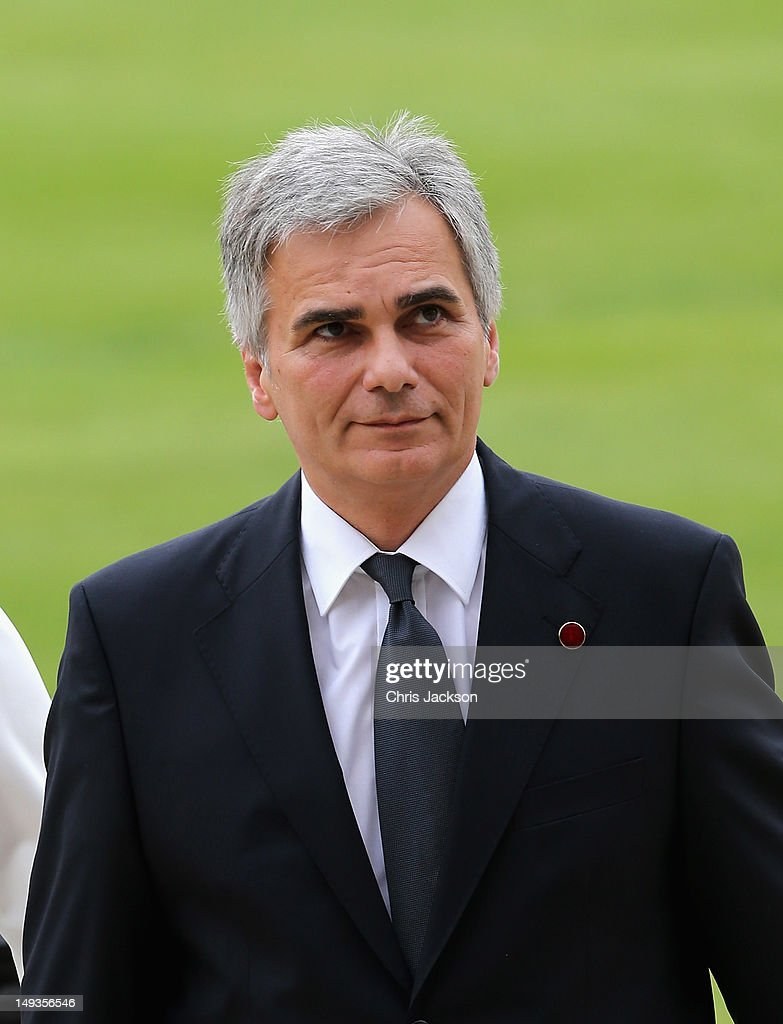 Austrian Chancellor Werner Faymann arrives for a reception at Buckingham Palace for Heads of State and Government attending the Olympics Opening...