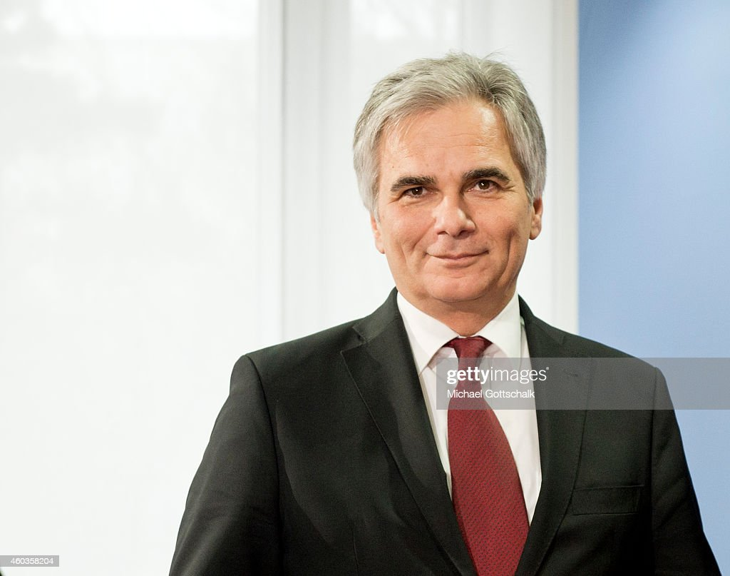Austrian Chancellor <a gi-track='captionPersonalityLinkClicked' href=/galleries/search?phrase=Werner+Faymann&family=editorial&specificpeople=4101130 ng-click='$event.stopPropagation()'>Werner Faymann</a> attends the presentation of his book on December 01, 2014 in Berlin, Germany.