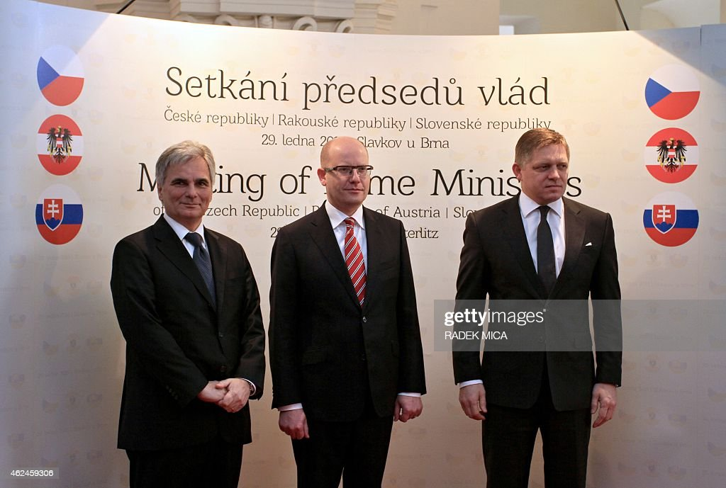 Austrian Chancellor <a gi-track='captionPersonalityLinkClicked' href=/galleries/search?phrase=Werner+Faymann&family=editorial&specificpeople=4101130 ng-click='$event.stopPropagation()'>Werner Faymann</a>, Czech Prime Minister <a gi-track='captionPersonalityLinkClicked' href=/galleries/search?phrase=Bohuslav+Sobotka&family=editorial&specificpeople=593327 ng-click='$event.stopPropagation()'>Bohuslav Sobotka</a> and Slovak Prime Minister <a gi-track='captionPersonalityLinkClicked' href=/galleries/search?phrase=Robert+Fico&family=editorial&specificpeople=555594 ng-click='$event.stopPropagation()'>Robert Fico</a> pose for a group photo prior to a joint meeting to discuss the possibilities of enhancing international cooperation in Slavkov u Brna (Austerlitz), Czech Republic on January 29, 2015. AFP PHOTO / RADEK MICA