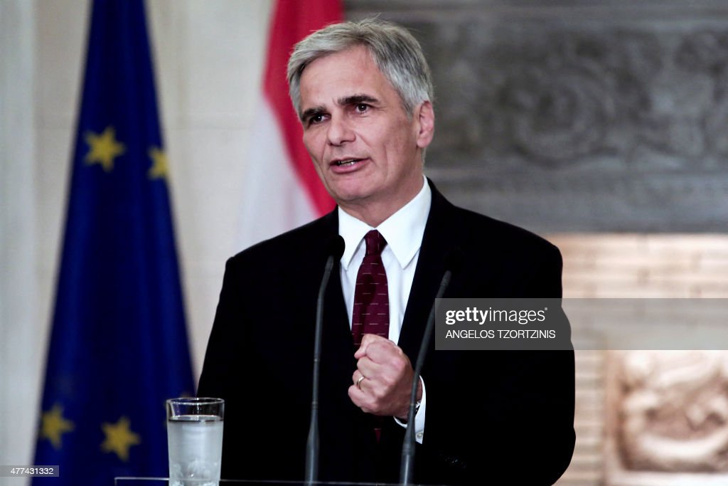 Austrian Chancellor Werner Faymann delivers a speech during a joint press conference following his meeting with the Greek Prime Minister at the...