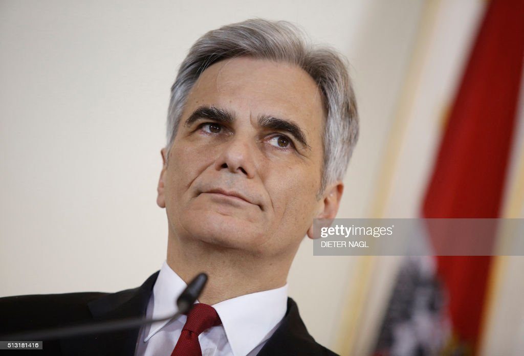 Austrian Chancellor Werner Faymann gives a press statement after his meeting with EU Council President Donald Dusk on March 1 2016 in Vienna / AFP /...