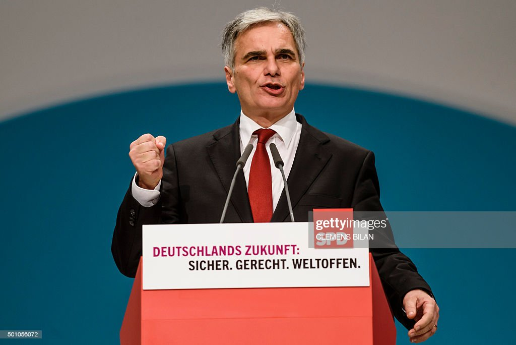 Austrian Chancellor Werner Faymann gives a speech at German Social democratic party SPD annual federal congress in Berlin on December 12 2015 AFP...