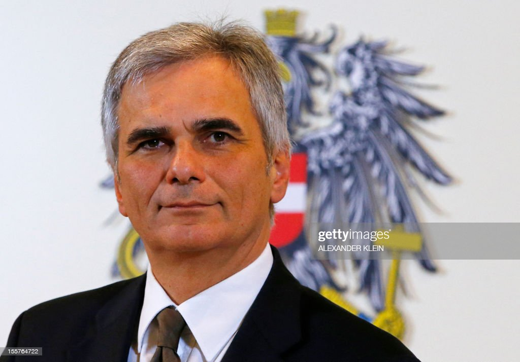 Austrian Chancellor Werner Faymann looks on during a press conference with Ireland's Prime Minister in Vienna on November 8 2012 Enda Kenny held...
