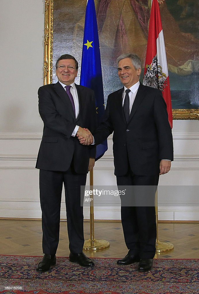 Austrian Chancellor Werner Faymann (R) shakes hands with European Commission President Jose Manuel Barroso (L) prior to a meeting in Vienna, Austria on January 31, 2013. Barroso is also scheduled to speak at Arnold Schwarzenegger's environmental movement R20 holds its first conference.