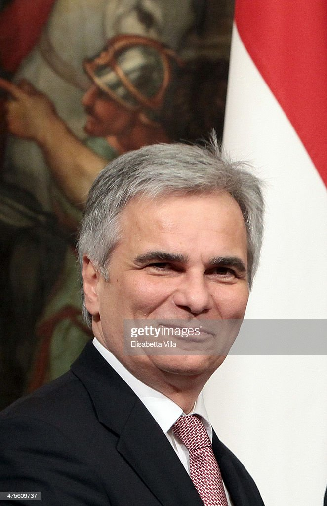 Austrian chancellor <a gi-track='captionPersonalityLinkClicked' href=/galleries/search?phrase=Werner+Faymann&family=editorial&specificpeople=4101130 ng-click='$event.stopPropagation()'>Werner Faymann</a> smiles during a meeting with Italian Prime Minister Matteo Renzi at Palazzo Chigi on February 28, 2014 in Rome, Italy. The 39-year-old Renzi has promised a reform a month until June, including employment law, bureaucracy and taxation.