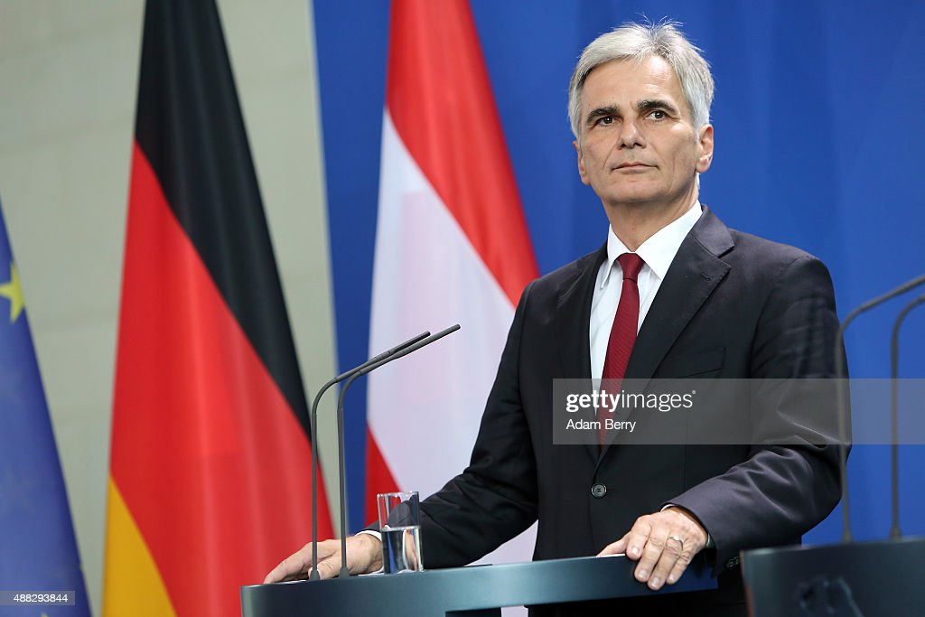 Austrian Chancellor Werner Faymann speaks to the media after talks on the ongoing refugee crisis on September 15 2015 in Berlin Germany After...