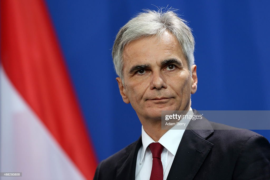 Austrian Chancellor <a gi-track='captionPersonalityLinkClicked' href=/galleries/search?phrase=Werner+Faymann&family=editorial&specificpeople=4101130 ng-click='$event.stopPropagation()'>Werner Faymann</a> speaks to the media after talks on the ongoing refugee crisis, on September 15, 2015 in Berlin, Germany. After accepting record numbers of refugees over the Austrian border, Germany indefinitely closed the pass over the weekend, prompting other countries to do the same, as Austria deployed its military to prevent a further influx of asylum seekers. A record number of refugees, 7,437, had been recorded entering Hungary via Serbia on Monday, setting a new record up from the previous day.