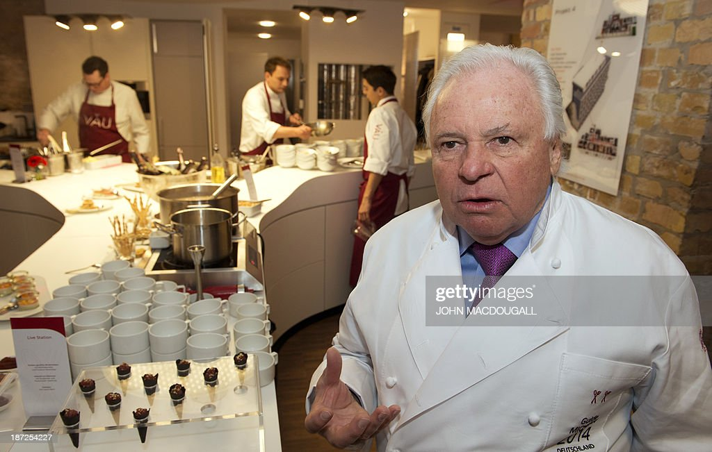 Austrian chef and cooking legend Eckart Witzigmann speaks to reporters during the launching of the 2014 edition of the Michelin guide, in Berlin November 7, 2013. A record number of German restaurants were given stars in the 2014 edition of the French-based culinary bible.