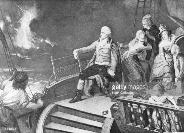 Austrian composer Franz Joseph Haydn crossing the English Channel en route to London to give concerts and compose c 1791