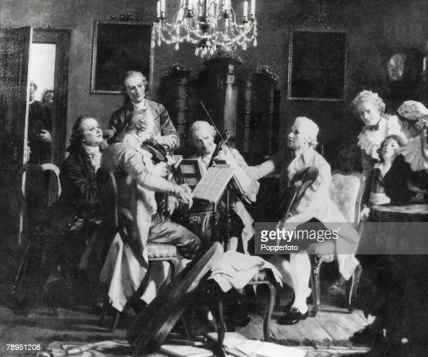 Austrian compser Josef Haydn at a rehearsal with his orchestra at the palace of Count Esterhazy