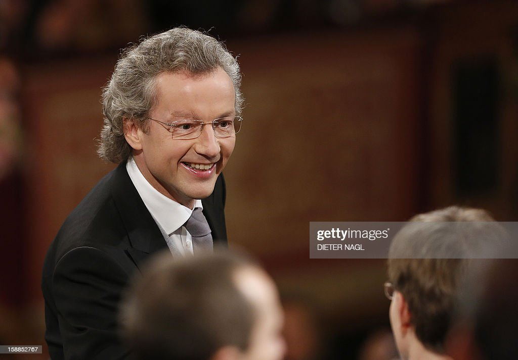 Austrian conducter Franz Welser-Moest reacts during the traditional New Years Concert on January 1, 2013 at the music association in Vienna, Austria.