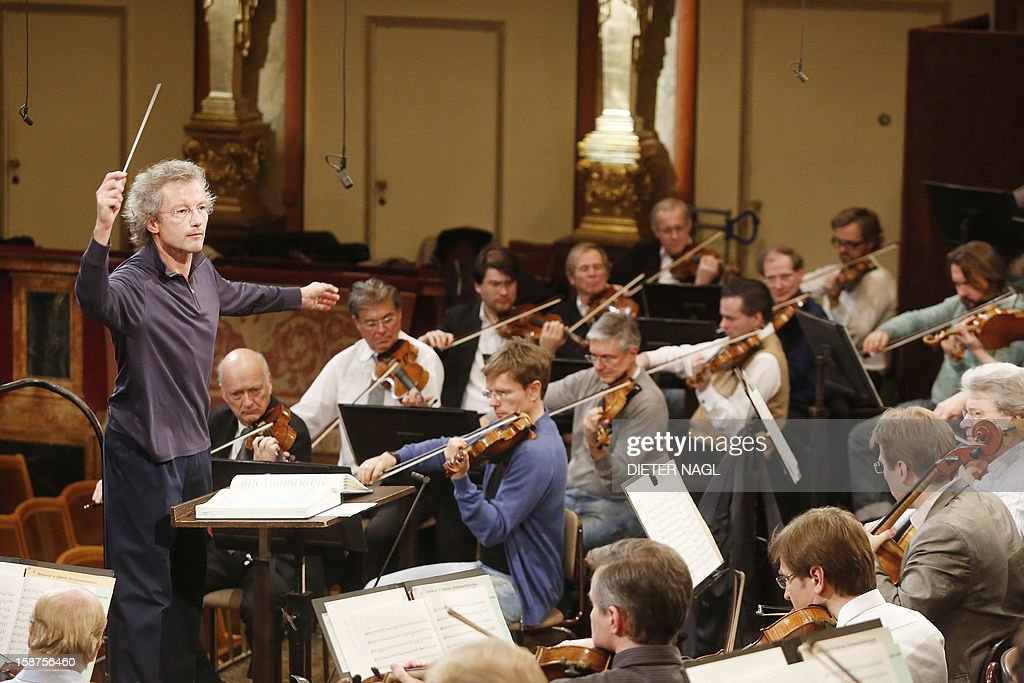 Austrian conductor Franz Welser-Moest rehearses for the New Year's concert 2013 with the Vienna Philharmonic Orchestra on December 27, 2012 at the 'Musikverein' in Vienna.