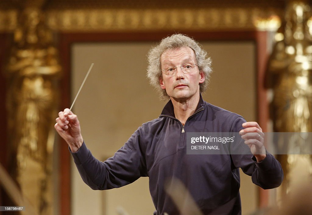 Austrian conductor Franz Welser-Moest rehearses for the New Year's concert 2013 with the Vienna Philharmonic Orchestra on December 27, 2012 at the 'Musikverein' in Vienna. AFP PHOTO/DIETER NAGL