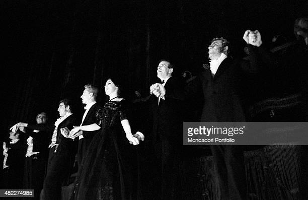 Austrian conductor Herbert von Karajan Italian baritone Mario Sereni Italianborn American soprano Anna Moffo Italian tenor Renato Cioni and Italian...