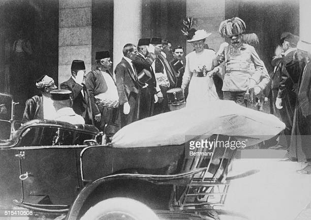 Austrian Crown Prince Franz Ferdinand and his wife Sophie walked down steps to enter car on June 28 1914 Five minutes later they were shot fatally at...