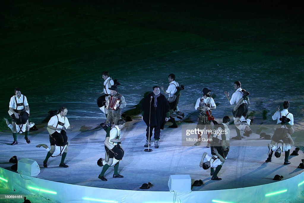 Austrian dancers perform during the opening ceremony for the Alpine FIS Ski World Championships on February 04, 2013 in Schladming, Austria.