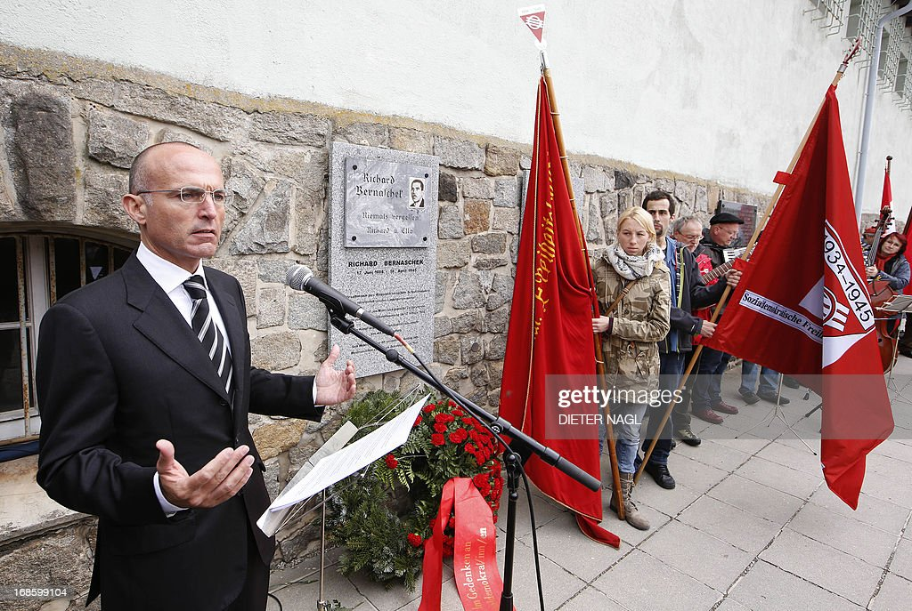 Austrian Defence Minister Gerald Klug delivers a speech during a commemoration of the liberation of the Nazi concentration camp Mauthausen on May 12, 2013, 160 kilometers near Vienna.