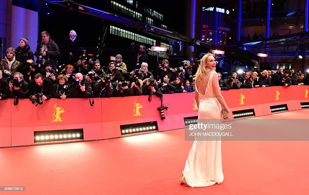Austrian director Feo Aladag poses on the red carpet for the film 'Hail, Caesar!' screening as opening film of the 66th Berlinale Film Festival in Berlin on February 11, 2016. / AFP / John MACDOUGALL